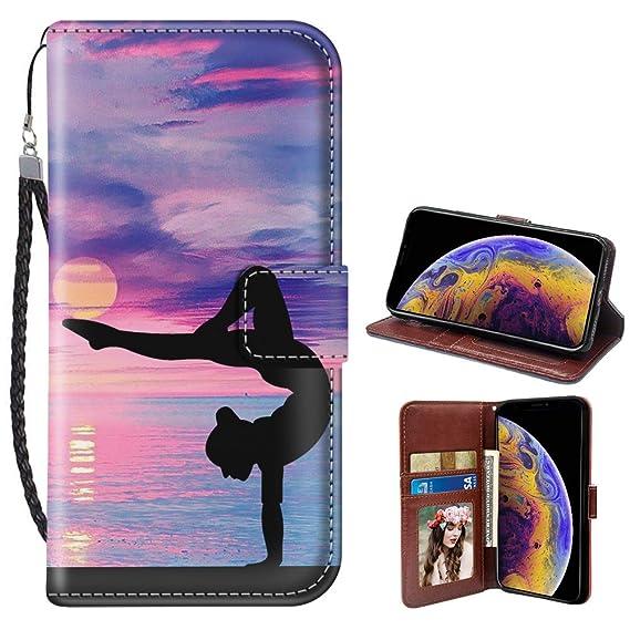 Yoga Pose iPhone Xr Wallet Case JQLOVE PU Leather Flip Magnetic Clasp Multi-Card Slot Wristlet Phone Case for iPhone Xr Yoga Pose