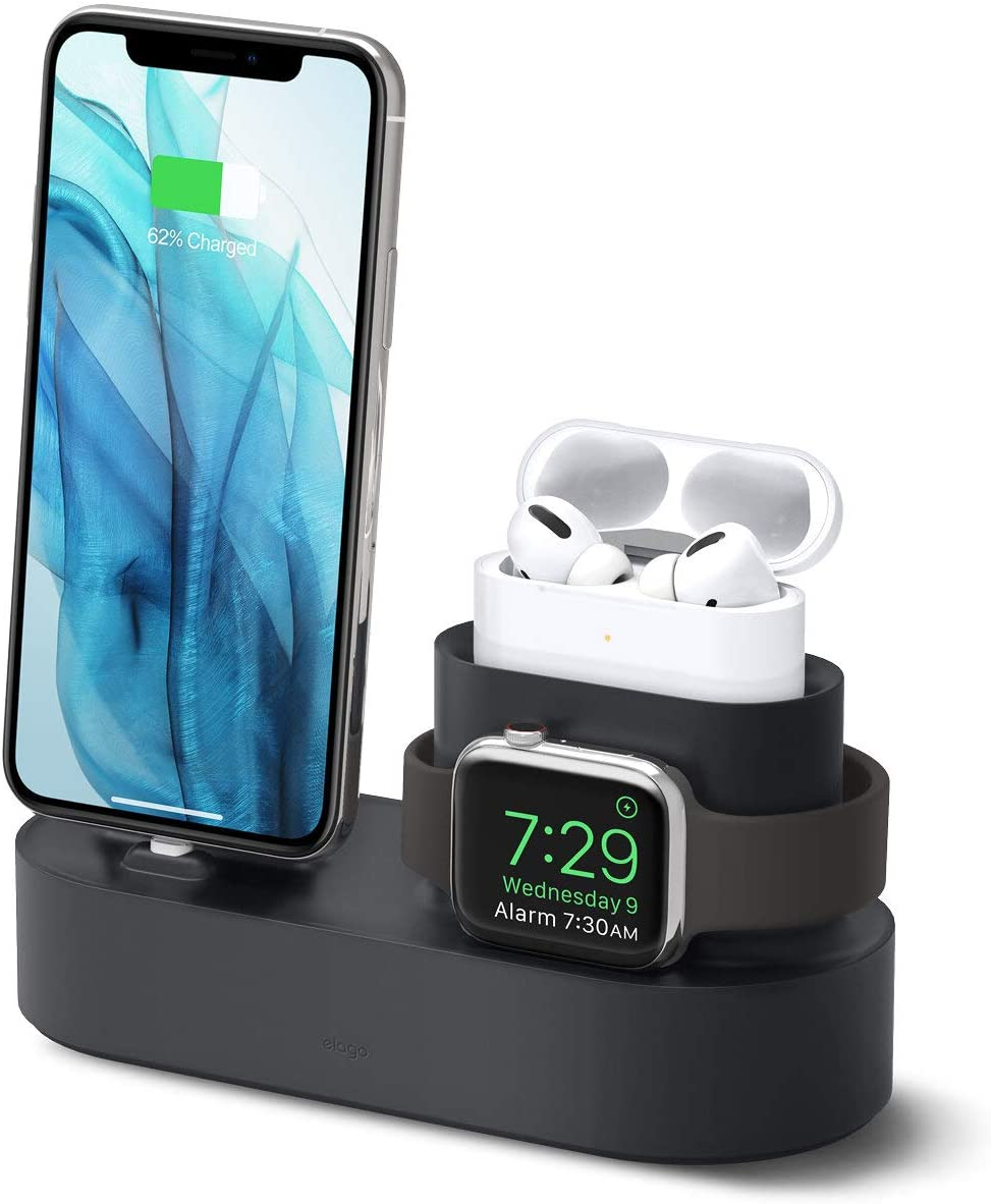 elago 3 in 1 Charging Station for Apple Products, Designed for Apple AirPods Pro, iPhone 11 Pro Max/11 Pro, All Apple Watch Series [Original Cables Required-NOT Included] (Black)