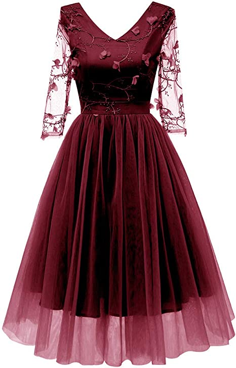 MIRRAY damska sukienka koktajlowa w stylu vintage, kwiatowa koronka, z szyfonu, z dekoltem w kształcie litery V, na imprezę: Odzież