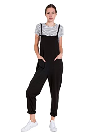 2d56a51e154 Image Unavailable. Image not available for. Color  Ladies Jumpsuit - Black  Jersey ...