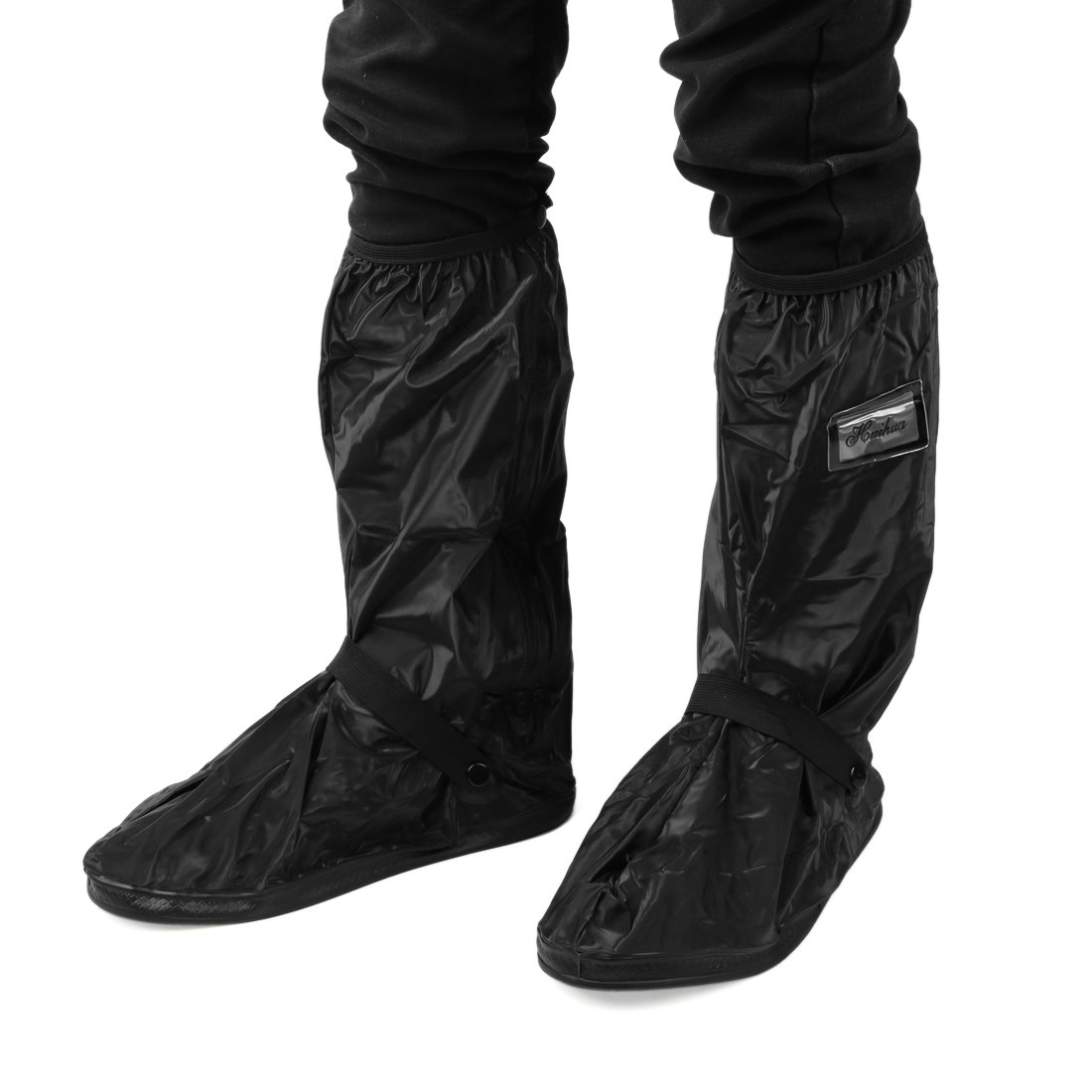uxcell 1Pair Black Motorcycle Anti-Slip Waterproof Adjustable Rain Shoes Boot Cover L