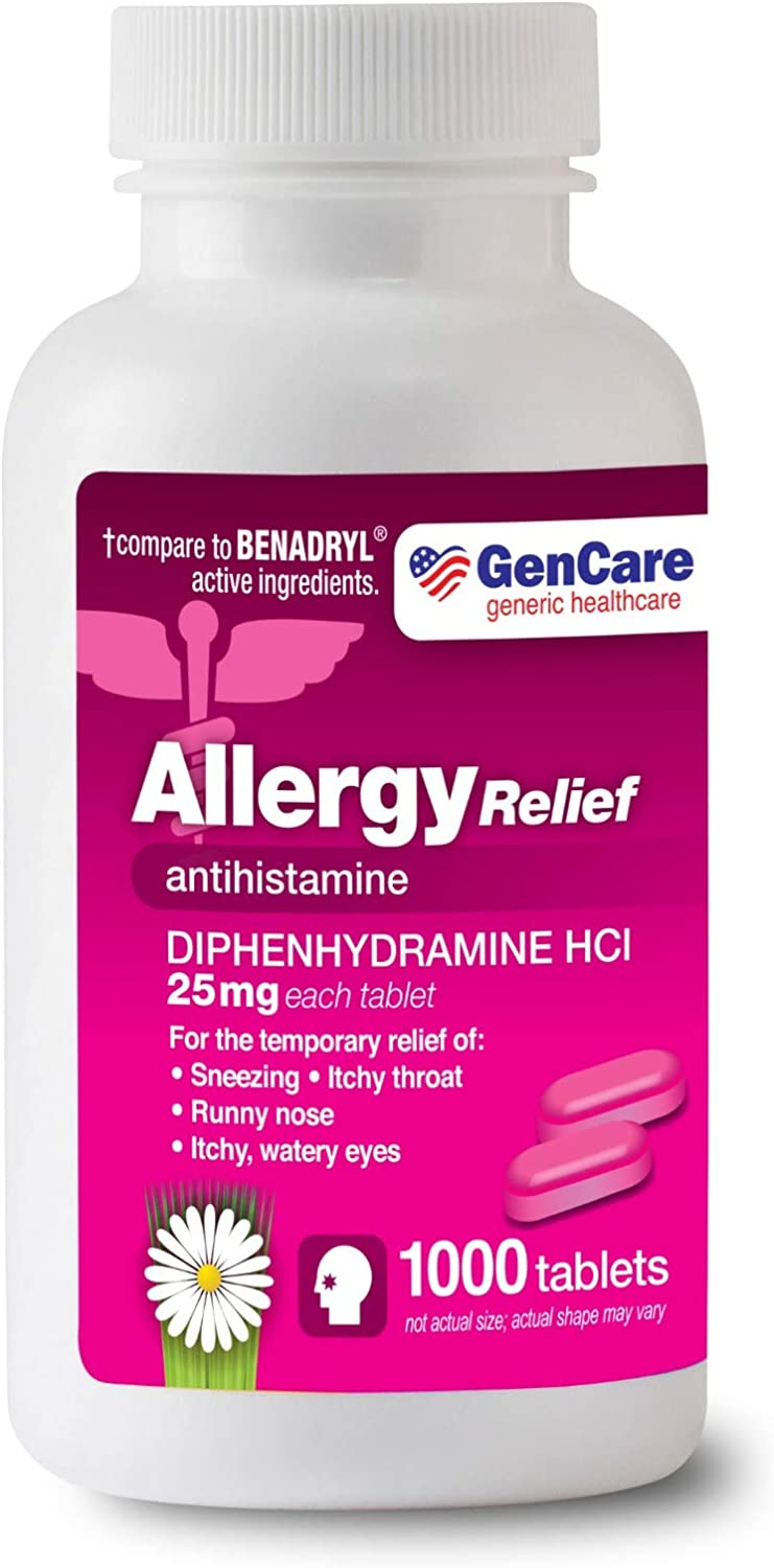 GenCare - Allergy Relief Medicine   Antihistamine Diphenhydramine HCl 25mg (1000 Tablets Per Bottle) Value Pack   Relieve for Itchy Eyes, Sneezing, Runny Nose   Seasonal or Indoor & Outdoor Allergies: Health & Personal Care