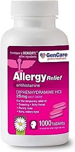 GenCare - Allergy Relief Medicine | Antihistamine Diphenhydramine HCl 25mg (1000