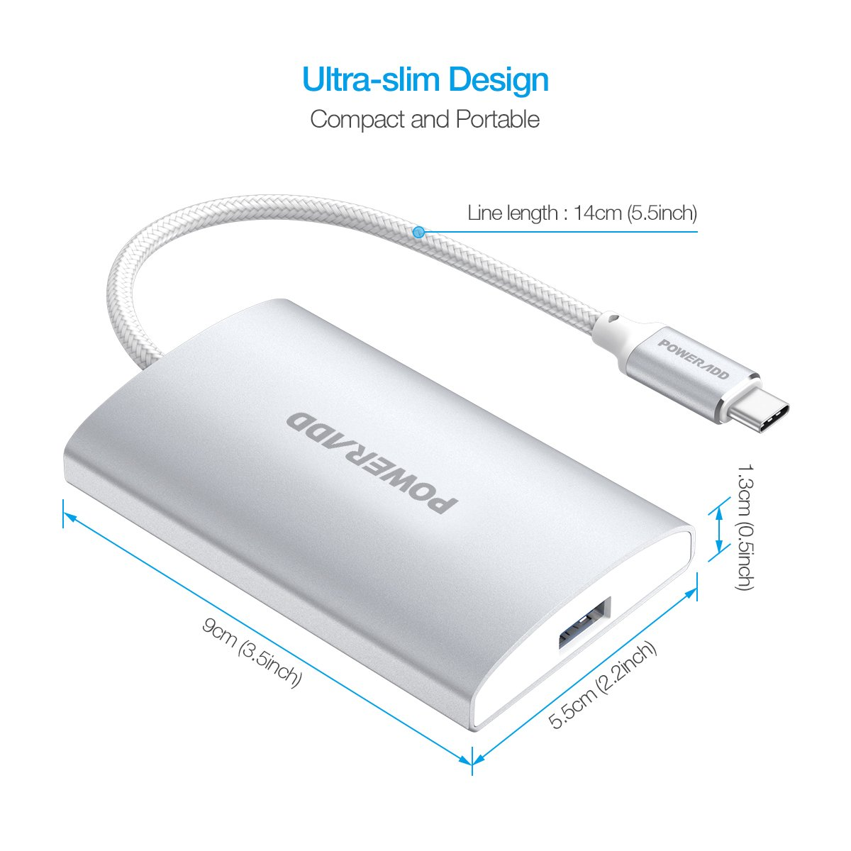 USB C Hub, Poweradd USB C Adapter 3.0 with USB C Power Delivery Port, 4-Port Aluminum Type C Hub High Transfer Speed for Mac, PC, USB Flash Drives and Other Devices - Silver