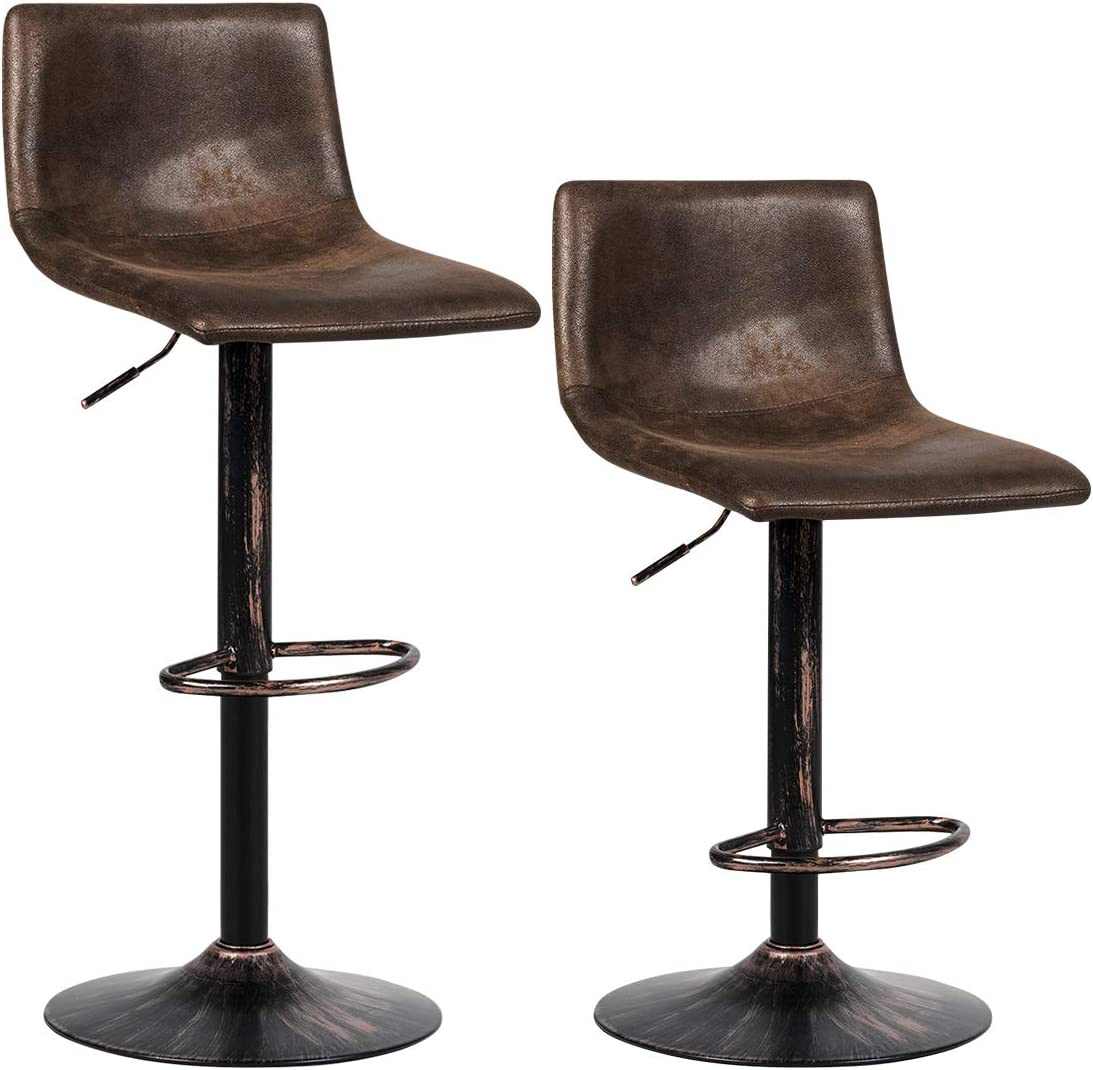 COSTWAY Vintage Barstools, Set of 2 Adjustable Swivel Bar Stools with Back, Armless Hydraulic Lift Seat, Hot-Stamping Cloth Chairs for Kitchen, Dining Room, Bistro, Pub, Retro Brown