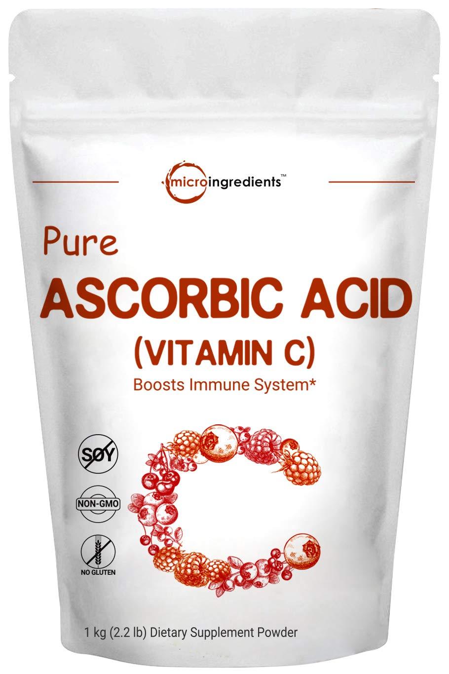 Pure Ascorbic Acid Powder (Vitamin C), 1 KG (2.2 Pounds), Antioxidant Powder for Making Serum or Adding to Smoothie, Pharmaceutical Grade, Non-GMO and Vegan Friendly