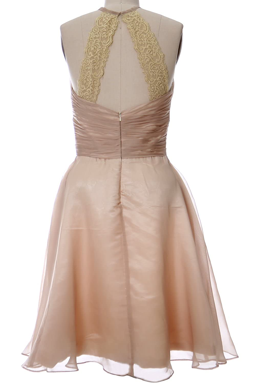 MACloth Women Halter Short Bridesmaid Dress Wedding Party Cocktail Formal Gown