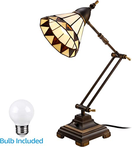 ESCENA Tiffany Style Table Lamp, Vintage Swing Arm Desk Light, Handmade Lampshade, LED G45 Bulb Included, Decoration for Nightstand, Living Rooms, Bedrooms, Study Rooms