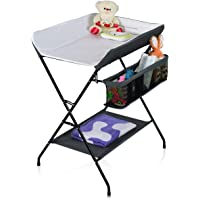 Costway Baby Storage Folding Diaper Changing Table (Black/Gray)
