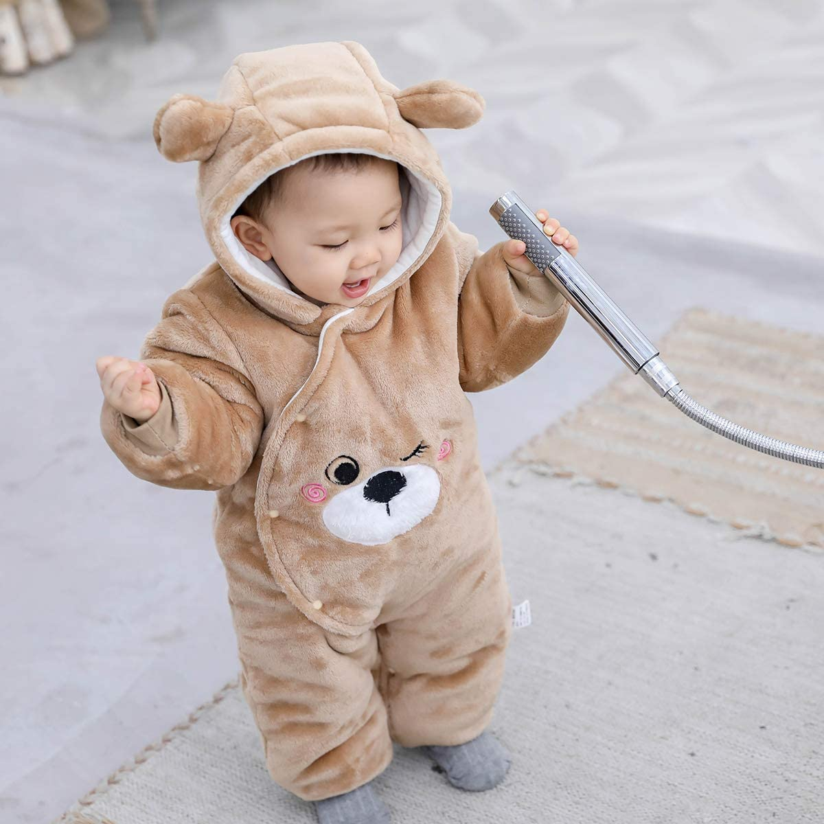 Borlai Newborn Romper Boys Girls Jumpsuit Winter Cartoon Animal Pajamas for 0-12M