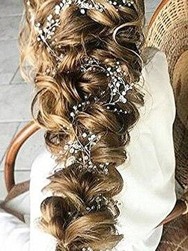 Yean Wedding Headband Rhinestones Hair Vine Long Babys Breath Hair Piece