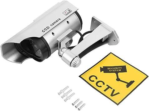 Opinión sobre Sairis Dummy Solar Power Camera Alta Simulación CCTV Cámara falsa intermitente LED luz roja Seguridad doméstica Batería Cámara Monitor-Plata