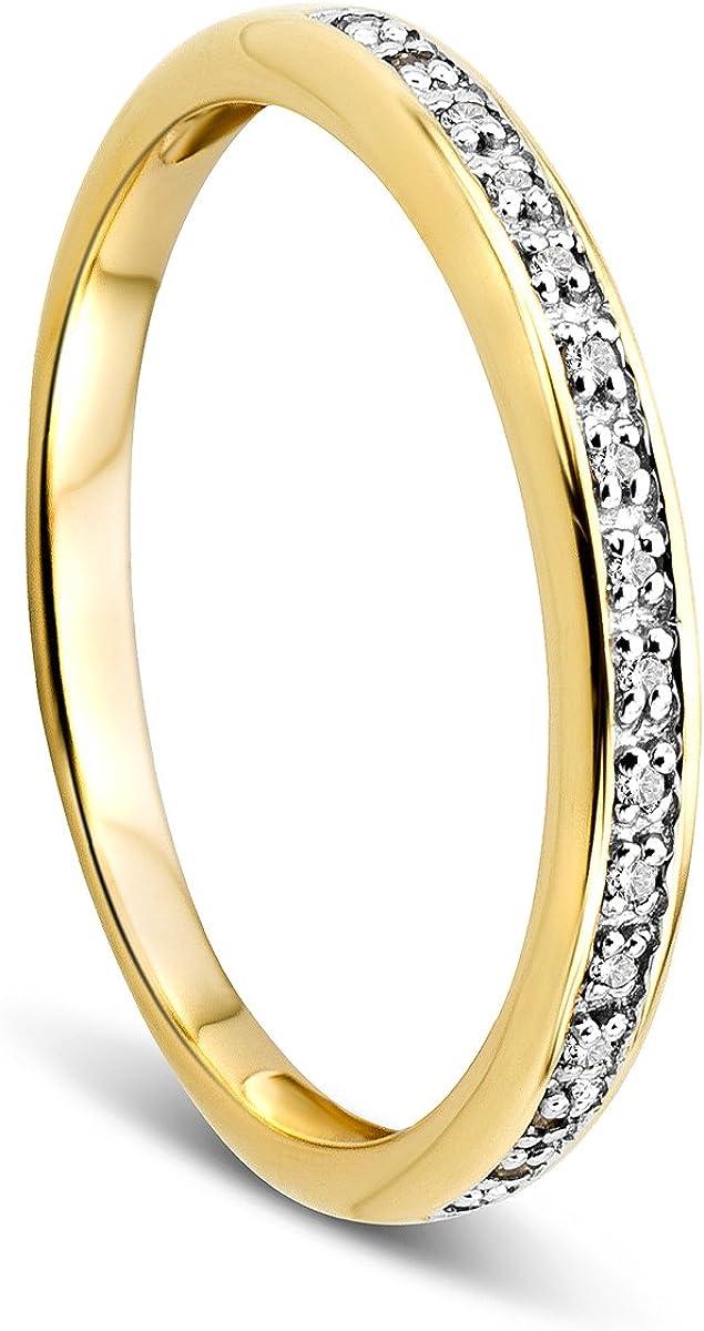 Anillo Memoire de Orovi para mujer, de oro blanco de 9quilates (375), brillantes de 0,05 quilates, para boda o de compromiso