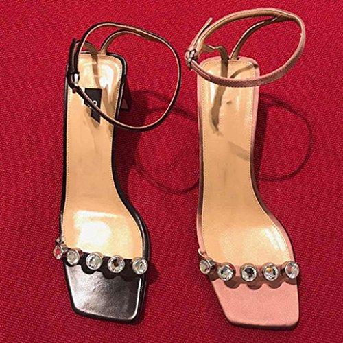Pin mujer Rhinestone Chang Ren Zapatos Zapatos Jia Firm tac fino Sandalias Shi vestir de para de tFqgxf