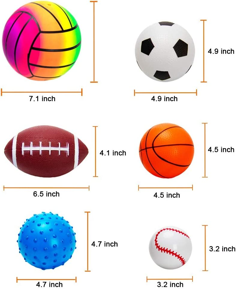 Inflatable Sport Ball for Toddler Includes Football 10 PCS Toddler Balls Set with Pump Basketball Volleyball Rugby Spike and Volleyball Ball Backyard Game Outdoor Game for Children Baseball