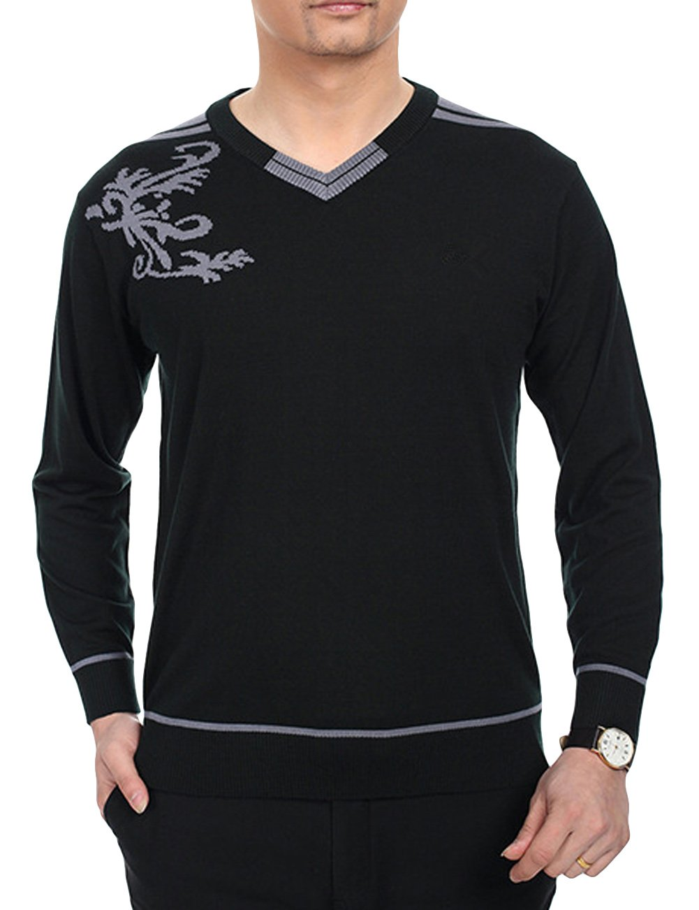 Chicside Mens Simple V Neckline Printed Cashmere Long Sleeve t Shirt Dark Green XL//US M chest:37.8