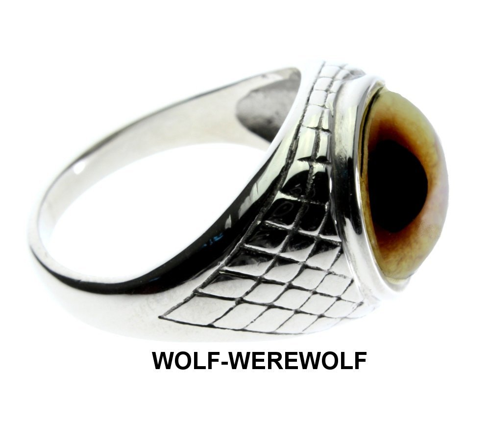 Steel Dragon Jewelry Men's Wolf-Werewolf Glass Eye Ring in an Egyptian-Inspired Setting by (Wolf, 8) by Steel Dragon (Image #2)