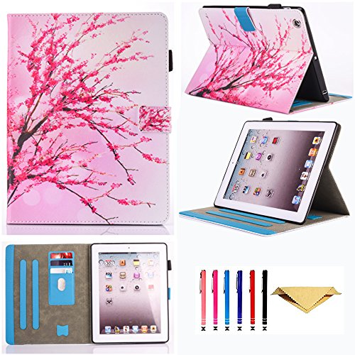 - iPad 2/3/4 Case,Monstek Leather Smart Kickstand Case Cover Colorful Flip Wallet Protective Case for Apple iPad 2 3 4 - 01 Cherry Blossom