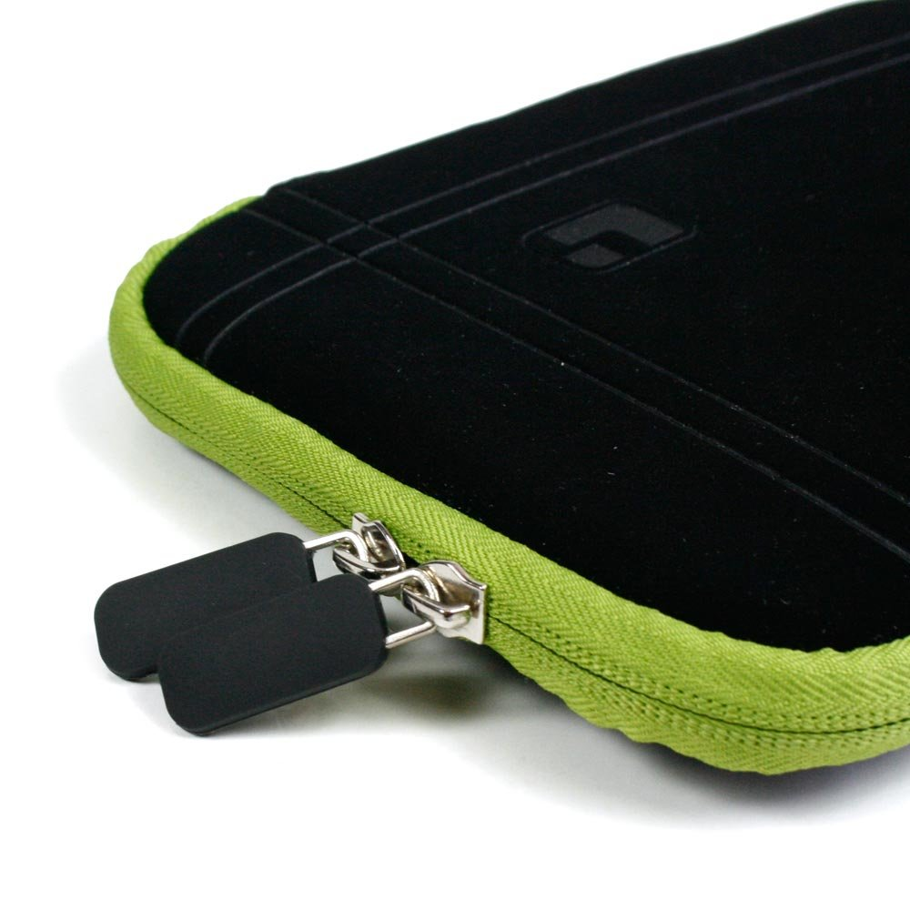 Black with Green Trim Smart Aero Protection Design Slim Soft Suede Cover Carrying Sleeve Case with Extra Accessory Back Pocket for Amazon Kindle Touch (Wi-Fi, 6'' E ink Display) + a USB Car Charger + a USB Home Charger + a USB Data/Sync Cable