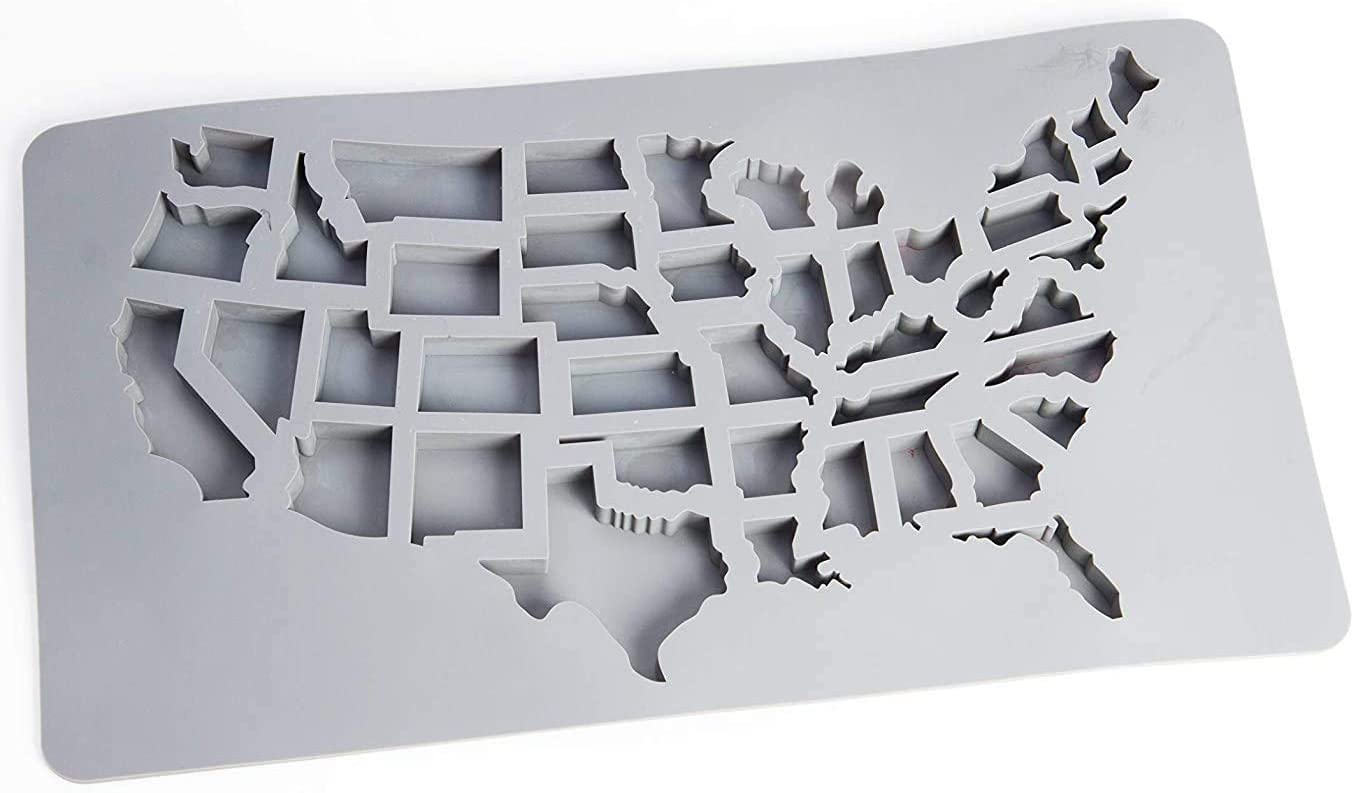 Gummy Molds by Abigail and Grey - USA Map 43 States Silicone Candy Molds and Gummy Candy Maker - USA Ice Cube and Silicone States - Nonstick Food Grade and BPA Free