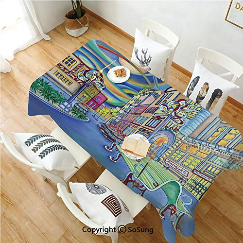(SoSung Abstract Home Decor Rectangle Polyester Tablecloth,Seattle Downtown Modern City Colorful Design Art Oil Painting Effect Decorative,Dining Room Kitchen Rectangle Table Cover,70W X 102L inches,)