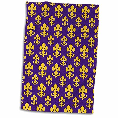 3D Rose Fleur de lis Pattern in LSU Colors Dark Purple and Canary Yellow TWL_31334_1 Towel, 15