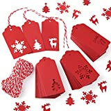 Gift Tags, Zealor 150 Pieces Red Kraft Paper Tags with String for Christmas Wedding Favor