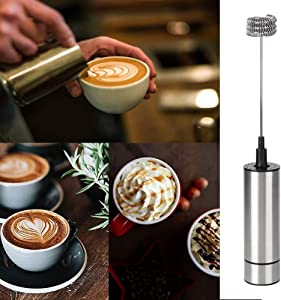 Stainless Steel Automatic Milk Frother Coffee Stirrer Foam Mixer Hot Chocolate Blender Battery Operated Electric Egg Beater for Home Kitchen