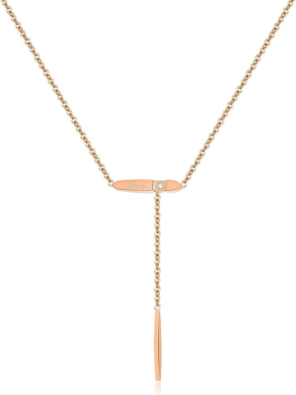 Daesar Colgante Acero Inoxidable Mujer Collar Colgante Barra Larga Circonita Colgante Collar Oro Rosa
