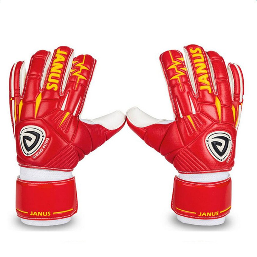 Janusプロサッカーゴールキーパーグローブfor Adult Kids Fingersave取り外し可能チューブ指保護ラテックスゴールキーパーグローブ B07CNJ3M8C 7|レッド レッド 7