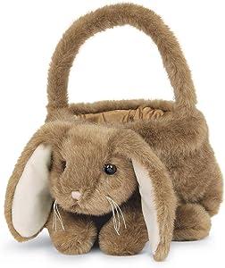 Bearington Plush Bunny Rabbit Kids Easter Egg Basket, Brown 12