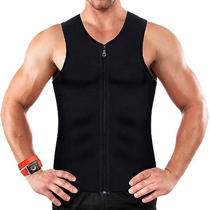 049cb5c39b Men Waist Trainer Vest for Weightloss Hot Neoprene Corset Body Shaper  Zipper Sauna Tank Top Workout