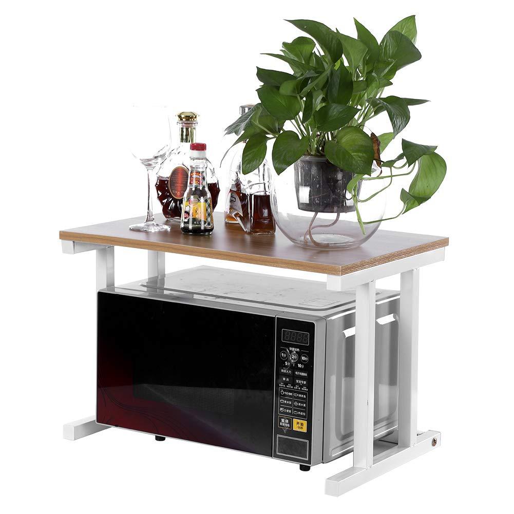 2 Tier Kitchen Baker's Rack Utility Storage Shelf, Wood Microwave Oven Stand Rack Kitchen Cabinet Counter Shelf, 22.44''L14.96''W14.96''H (White)