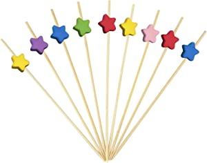 Bamboo Cocktail Picks Bamboo Skewers Food Picks 4.7 Inch Toothpicks with Handmade Design Skewers for Party Fruit and Food Snacks (Star, 100)