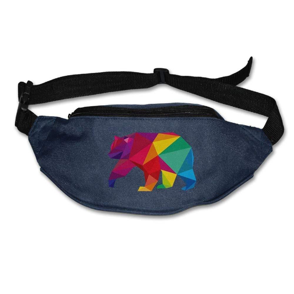 Unisex Pockets Colorful Polar Bear Fanny Pack Waist/Bum Bag Adjustable Belt Bags Running Cycling Fishing Sport Waist Bags Black