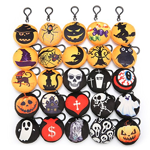 KINGSO Mini Emoji Plush Pillow Emoticon Keychain Decoration Kids Party Supplies Favors (25Pack Halloween)]()
