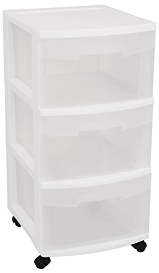 Sterilite   Drawer Cart White Frame With Clear Drawers And Black Casters