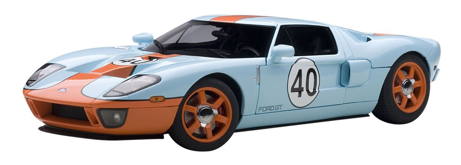 2004 Ford GT Gulf Livery #40 Blue with Orange 1/18 by Autoart 80513