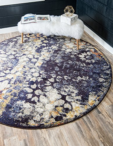 (Unique Loom Vita Collection Traditional Over-Dyed Vintage Navy Blue Round Rug (8' 0 x 8' 0))