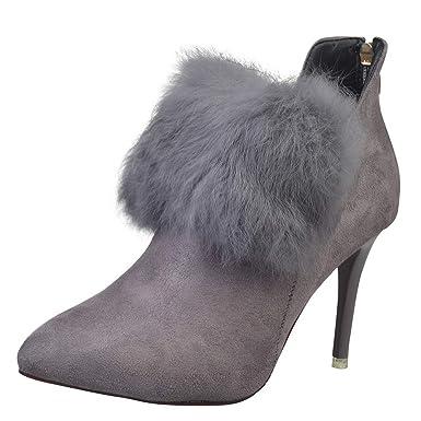 ❤ Botas para Mujer de Piel de tacón Alto, Borla de Mujer en Punta Zapatos de tacón Alto Zipper Botines de tacón Alto Bota Absolute: Amazon.es: Ropa y ...