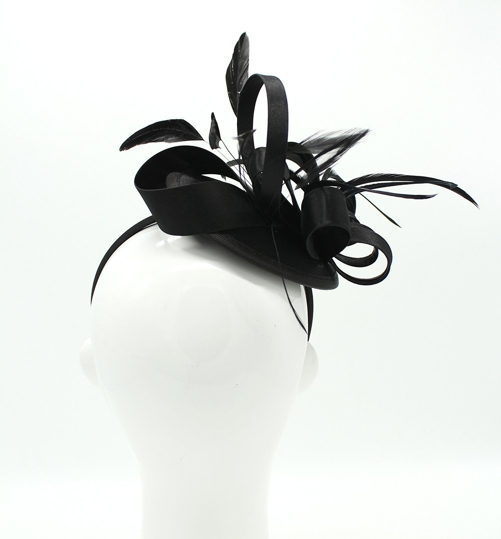 Felizhouse Fascinator Hats for Women Ladies Feather Cocktail Party Hats Bridal Headpieces Kentucky Derby Ascot Fascinator Headband (Black) by Felizhouse (Image #4)