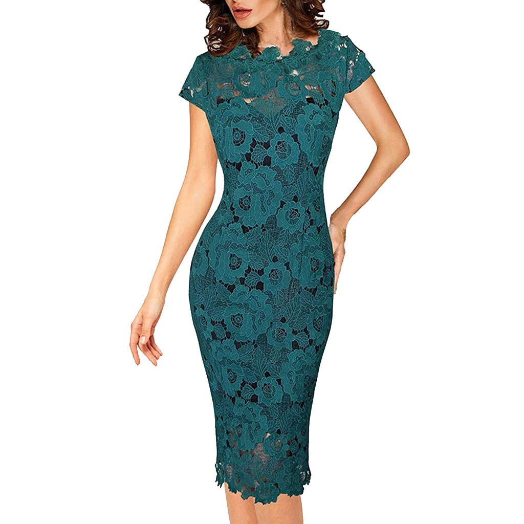 Fashion Women Wrap Dress Solid O-Neck Short Sleeve Bodycon Dress Lace Hollow Pencil Skirt Plus Size (L, Navy)