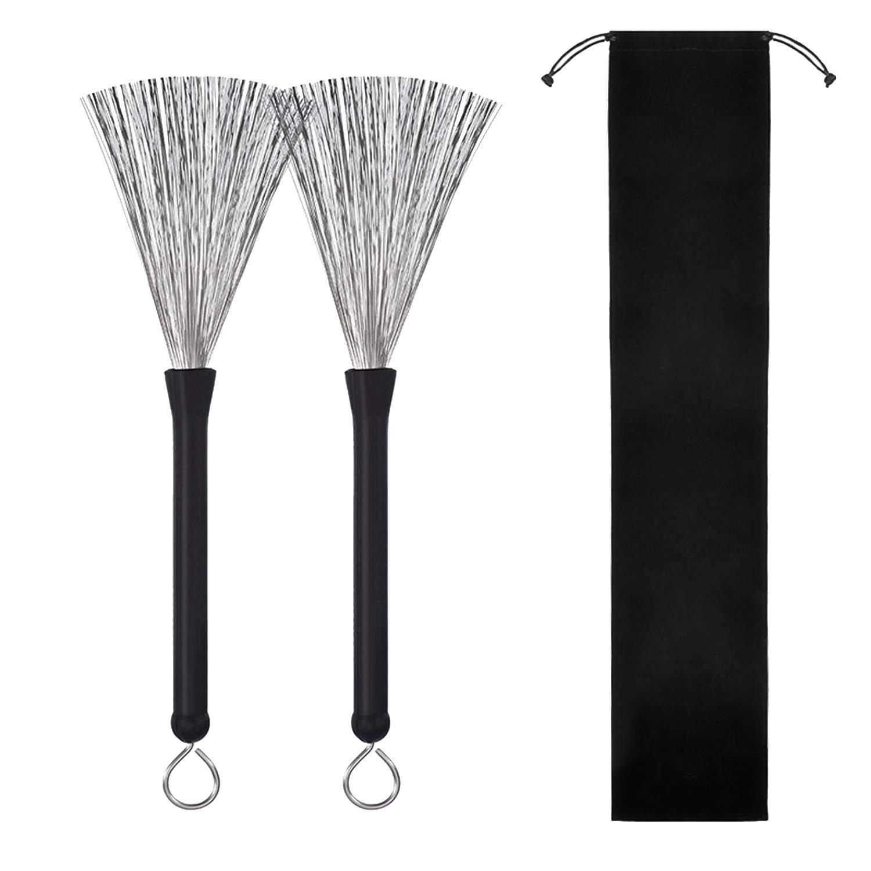 1 Pair Retractable Steel Wire Drum Brushes with Rubber Handle Velvet Bag for Professional Drummer Beginner Migavan M433180018