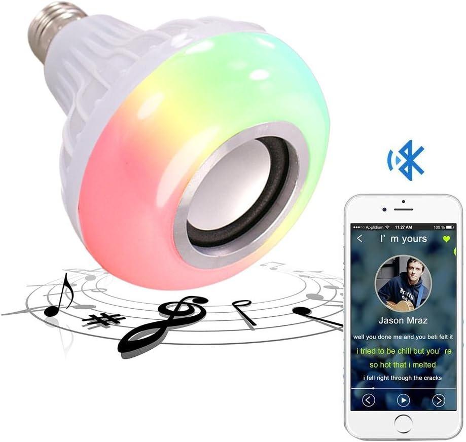Kobwa - Bombilla de música con Bluetooth, casquillo E27 RGB ...