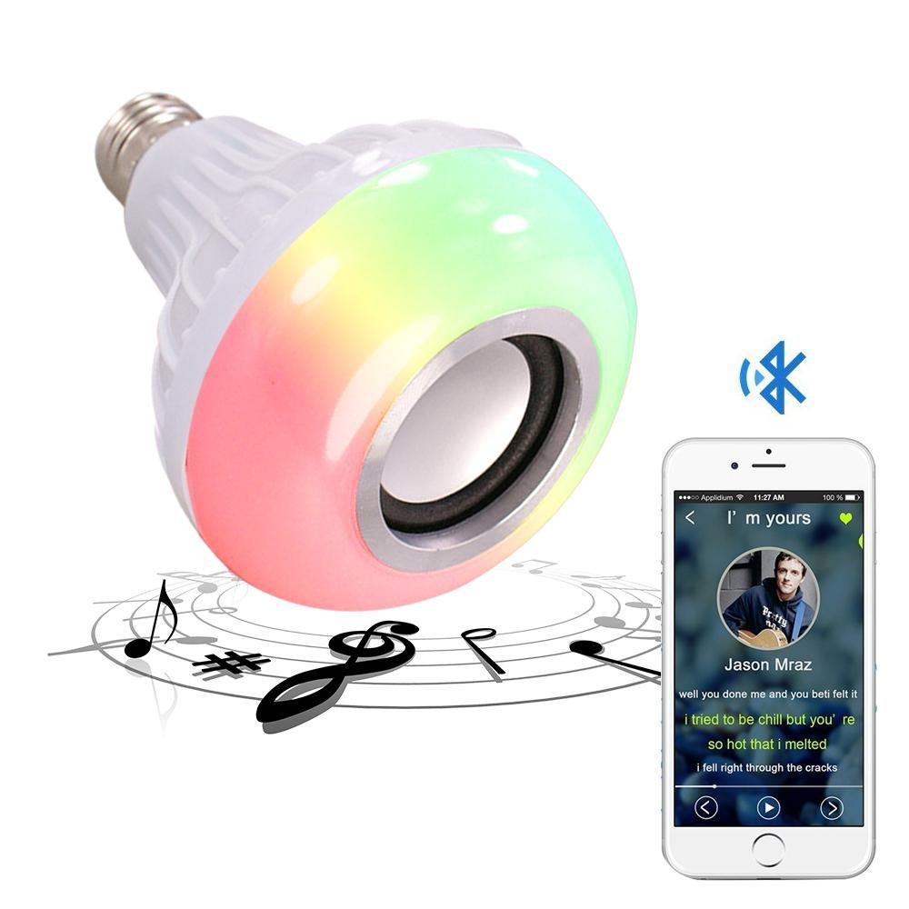 Kobwa - Bombilla de mú sica con Bluetooth, casquillo E27 RGB, multicolor, cambio de LED, altavoz inteligente con mando a distancia de 24 teclas