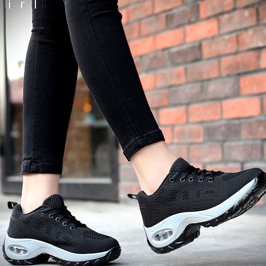 Shusuen Women's Leisure Mesh Thick Bottom Athletic Sneakers Hidden Heel Summer 2019 Shoes Loafers Black by Shusuen_shoes (Image #4)
