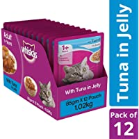 Whiskas Adult Wet Cat Food, Tuna in Jelly – 85 g (1.02 kg, 12 Pouches)