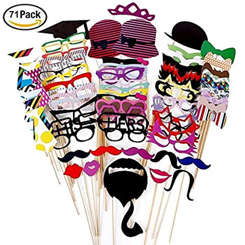 Foonii 76PCS Photo Booth Props Funny Creative Wedding Birthday Christmas Party paper Mustache Glasses Hats on Stick, Colorful