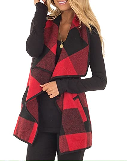 Womens Plaid Open Front Vest Cardigan Sweaters Sleeveless Lapel With