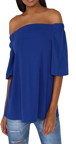 Camisetas Mujer Elegante Verano Barco Cuello Manga Corta T Shirt Tops Confort Niñas Ropa Sencillos Diario
